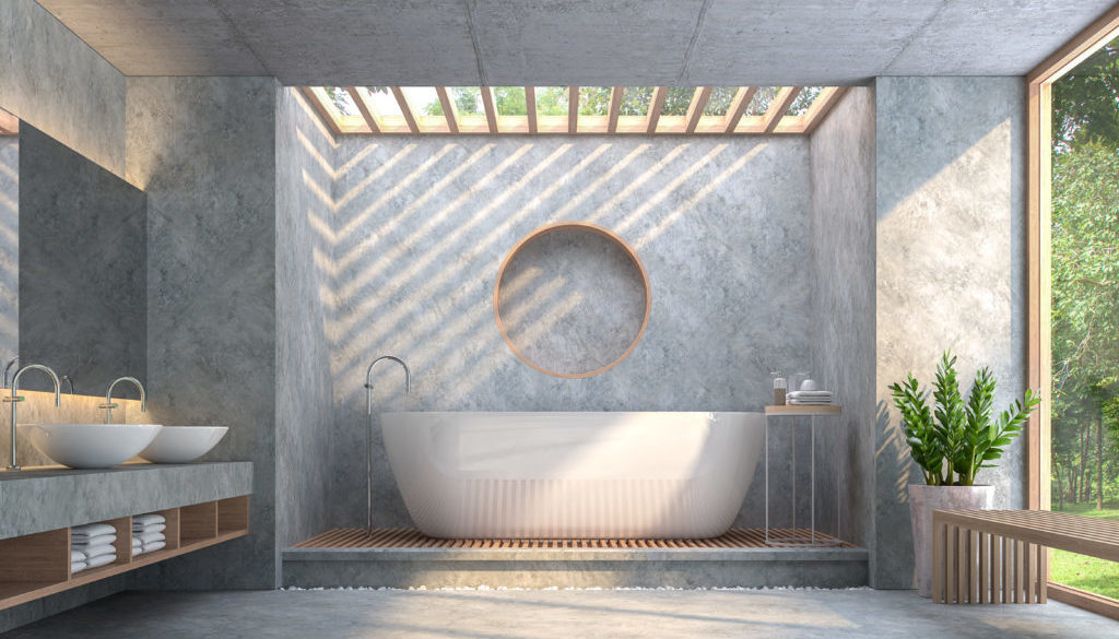 Modern loft style bathroom with polished concrete 3d render