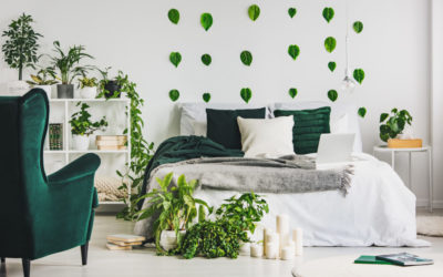 Urban jungle in cozy emerald green and white bedroom interior with king size bed